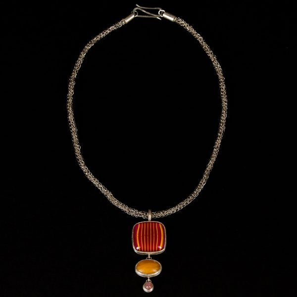 Schmuckwerk Birgit Maringer | Kette | Materialien: 925er Silber, Glas, Bernstein, Rhodochrosid, Glaskünstlerin Hedi Schon